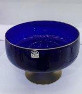 Yeni Cam Ayaklı Mavi Büyük Boy Salata KasesiMeyvelik Sunum 24cm-2