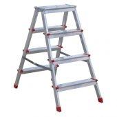 çift Çıkışlı Alüminyum Merdiven 4+4 Basamaklı