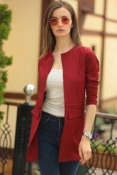 Kadın Bordo Beli Dikişli Uzun Ceket-3