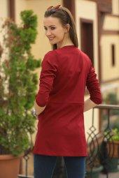 Kadın Bordo Beli Dikişli Uzun Ceket-4