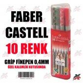 Faber Castell 10 Renk Grip Finepen Renkli Tükenmez Kalem