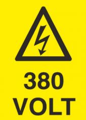 380 Volt Uyarı Levhası