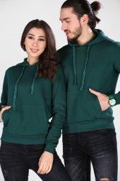 Sevgili Kombinleri Yeşil Sweatshirt Basic 3 İPLİK Kalın Kumaş