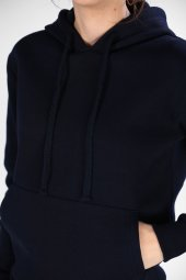 Sevgili Kombinleri Lacivert Sweatshirt Basic Kapüşonlu-4