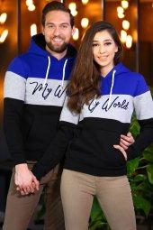 Sevgili Kombinleri Renkli Sweatshirt Kapşonlu My World-2