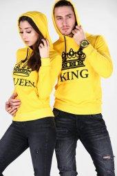 Sevgili Kombinleri Sarı KING-QUEEN Kapüşonlu Kanguru Cepli-3