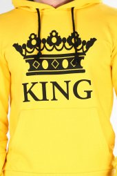 Sevgili Kombinleri Sarı KING-QUEEN Kapüşonlu Kanguru Cepli-4