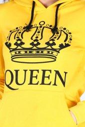 Sevgili Kombinleri Sarı KING-QUEEN Kapüşonlu Kanguru Cepli-5