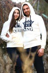 Sevgili Kombinleri Beyaz KING-QUEEN Kapüşonlu Kanguru Cepli