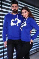 Sevgili Kombinleri Mavi Sweatshirt Kapüşonlu Kalp El