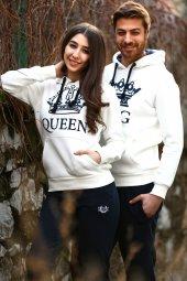 Sevgili Kombinleri Beyaz KING-QUEEN Kapüşonlu Kanguru Cepli-3