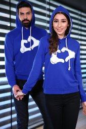 Sevgili Kombinleri Mavi Sweatshirt Kapüşonlu Kalp El-2