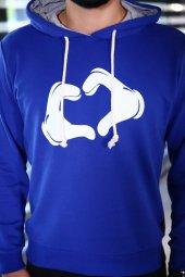 Sevgili Kombinleri Mavi Sweatshirt Kapüşonlu Kalp El-4