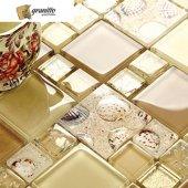Mk13 Granitto Midye Desenli Sütlü Kahve Cam Mozaik