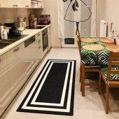RugRita Siyah Beyaz Şerit Kaydırmaz Taban Salon Halısı