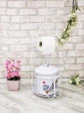 Beyaz Renk Ferforje Çöp Kovalı Wc Kağıt Havluluk Seti