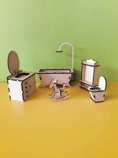 Ahşap Minyatür Banyo Seti Takımı Boyanabilir Eğitici Oyuncak