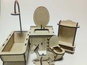 Ahşap Minyatür Banyo Seti Takımı Boyanabilir Eğitici Oyuncak-2