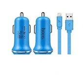 Hoco Z1 Araç Şarj Başlığı(2.1 A Max Çift Usb Giriş) + Apple (8pin)kablo Mavi