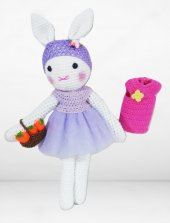 Amigurumi Organik El Örgüsü Elbiseli Havuç Sepetli Tavşan Bebek
