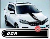 Mahindra Goa Logolu Otomobil Ön Kaput Şeridi Kaput Sticker