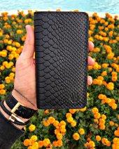 Elegant Ptyhon Black Telefon Cüzdanı