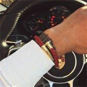Red Gold Çivi Manyetik Örme Deri Bileklik