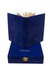 Mavi Kadife Kutulu Çanta Boy Kuran-ı Kerim-3