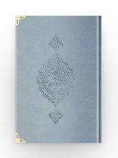 Orta Boy Kadife Kuran-ı Kerim (Mavi, Yaldızlı, Mühürlü)-3