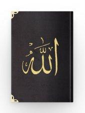 Cep Boy Kadife Kuran-ı Kerim (Siyah, Nakışlı, Yaldızlı, Mühürlü)