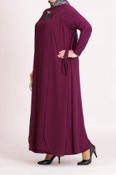 B40003 Büyük Beden Yandan Bağcıklı Sandy Elbise Fuşya
