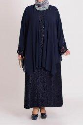 B40002 Büyük Beden Pul Detaylı Güpür Elbise Lacivert