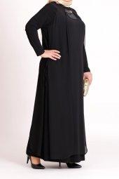 B40003 Büyük Beden Yandan Bağcıklı Sandy Elbise Siyah