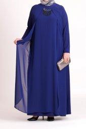 B40003 Büyük Beden Yandan Bağcıklı Sandy Elbise Saks