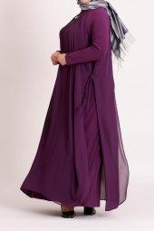 B40003 Büyük Beden Yandan Bağcıklı Sandy Elbise Açık Mor