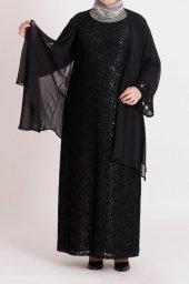 B40002 Büyük Beden Pul Detaylı Güpür Elbise Siyah