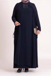 B40003 Büyük Beden Yandan Bağcıklı Sandy Elbise Lacivert