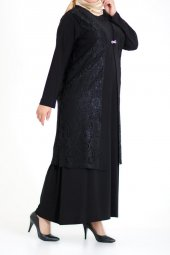 B40009 Büyük Beden Güpür Yelekli Sandy Elbise Siyah