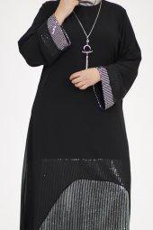 B40011 Büyük Beden Pul Payet Sandy Elbise - Siyah-2