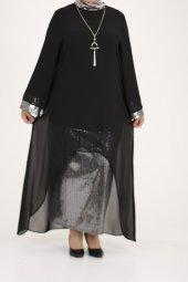 B40011 Büyük Beden Pul Payet Sandy Elbise - Siyah-3