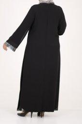B40011 Büyük Beden Pul Payet Sandy Elbise - Siyah-4