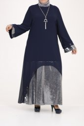 B40011 Büyük Beden Pul Payet Sandy Elbise Lacivert