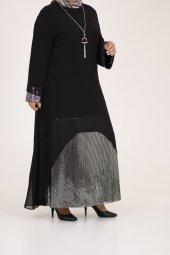 B40011 Büyük Beden Pul Payet Sandy Elbise - Siyah