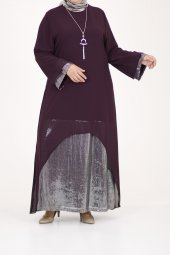 B40011 Büyük Beden Pul Payet Sandy Elbise Mürdüm