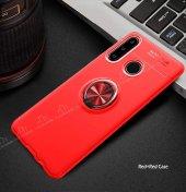 Eiroo Huawei P30 Lite Standlı Kırmızı-Siyah Silikon Kılıf-3