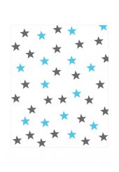 Elenist Beyaz Üzeri Mavi Gri Yıldız Çocuk Halısı Kaydırmaz Taban