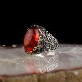 Kehribar Taşlı 925 Ayar Gümüş Yüzük