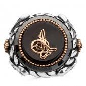 Kılıç Motifli Osmanlı Tuğrası Siyah Gümüş Erkek Yüzük-3