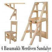 Katlanabilir Sandalye Merdiven 4 Basamak Doğal...