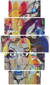 Grafiti Kadın Dekoratif 5 Parça Mdf Tablo